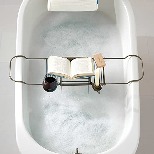 Amazon.com: Over Tub Caddy by Spa Creations Satin Nickel Finish ...