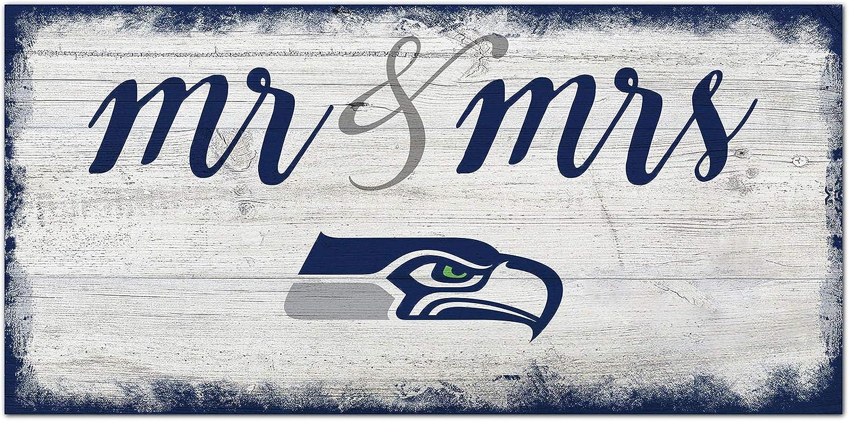 NFL Seattle Seahawks Unisex Seattle Seahawks Script Mr & Mrs sign, Team Color, 6 x 12