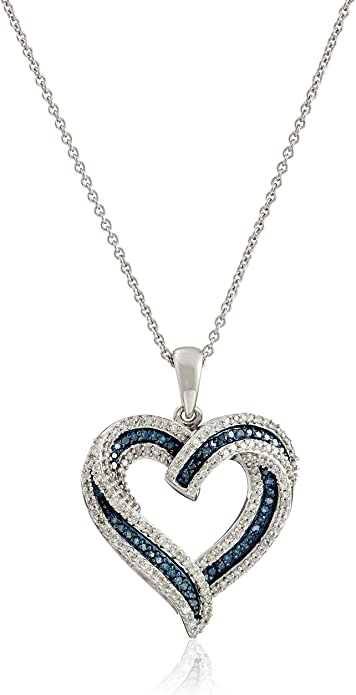 FB Jewels Sterling Silver Womens Round Blue Color Enhanced Diamond Heart Pendant 1//20 Cttw