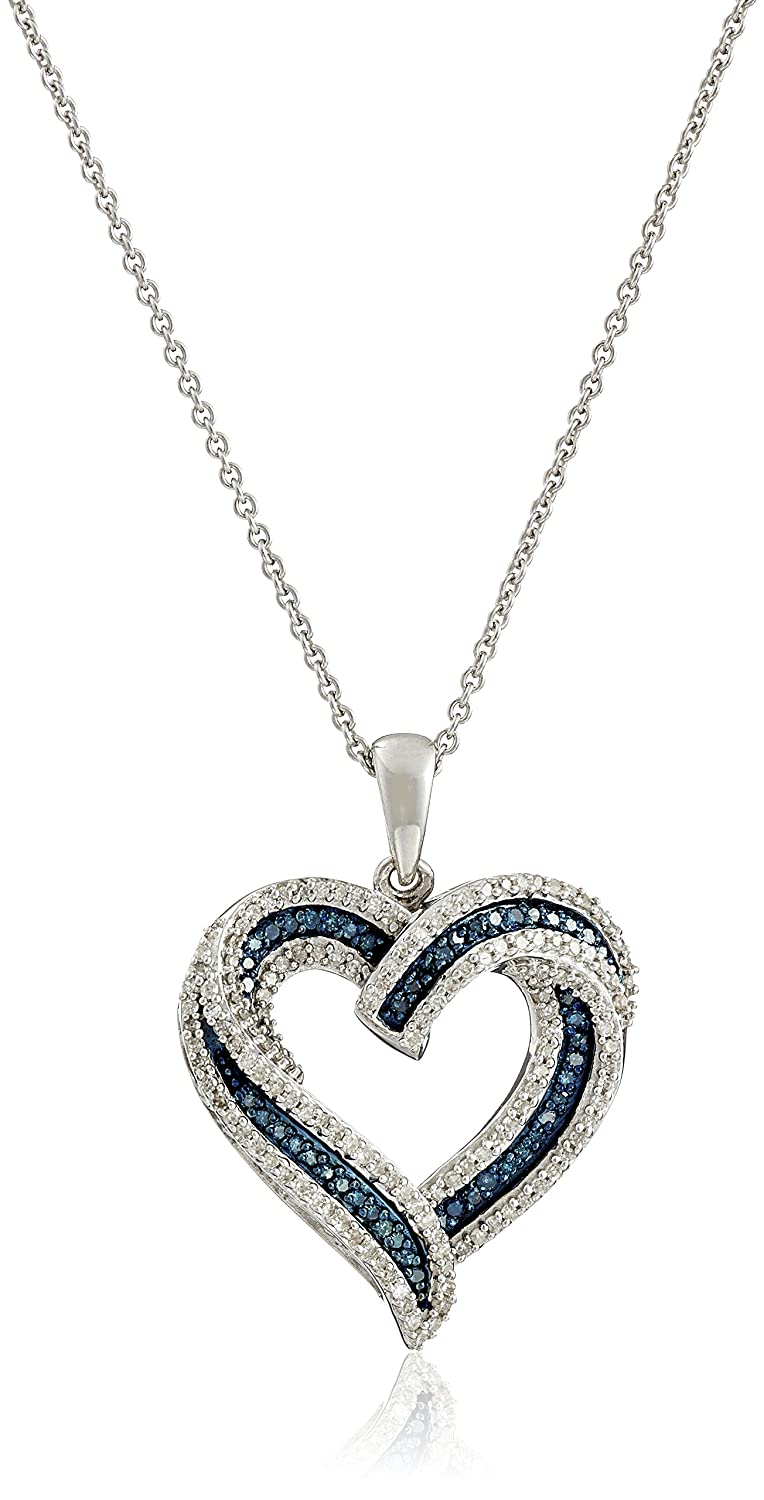 bbfac07235c Amazon.com  Sterling Silver Blue and White Diamond Heart Pendant Necklace (1  2 cttw)