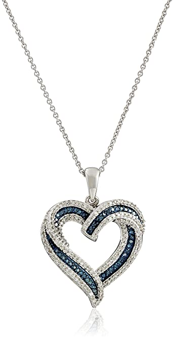 Amazon sterling silver blue and white diamond heart pendant sterling silver blue and white diamond heart pendant necklace 12 cttw mozeypictures Image collections