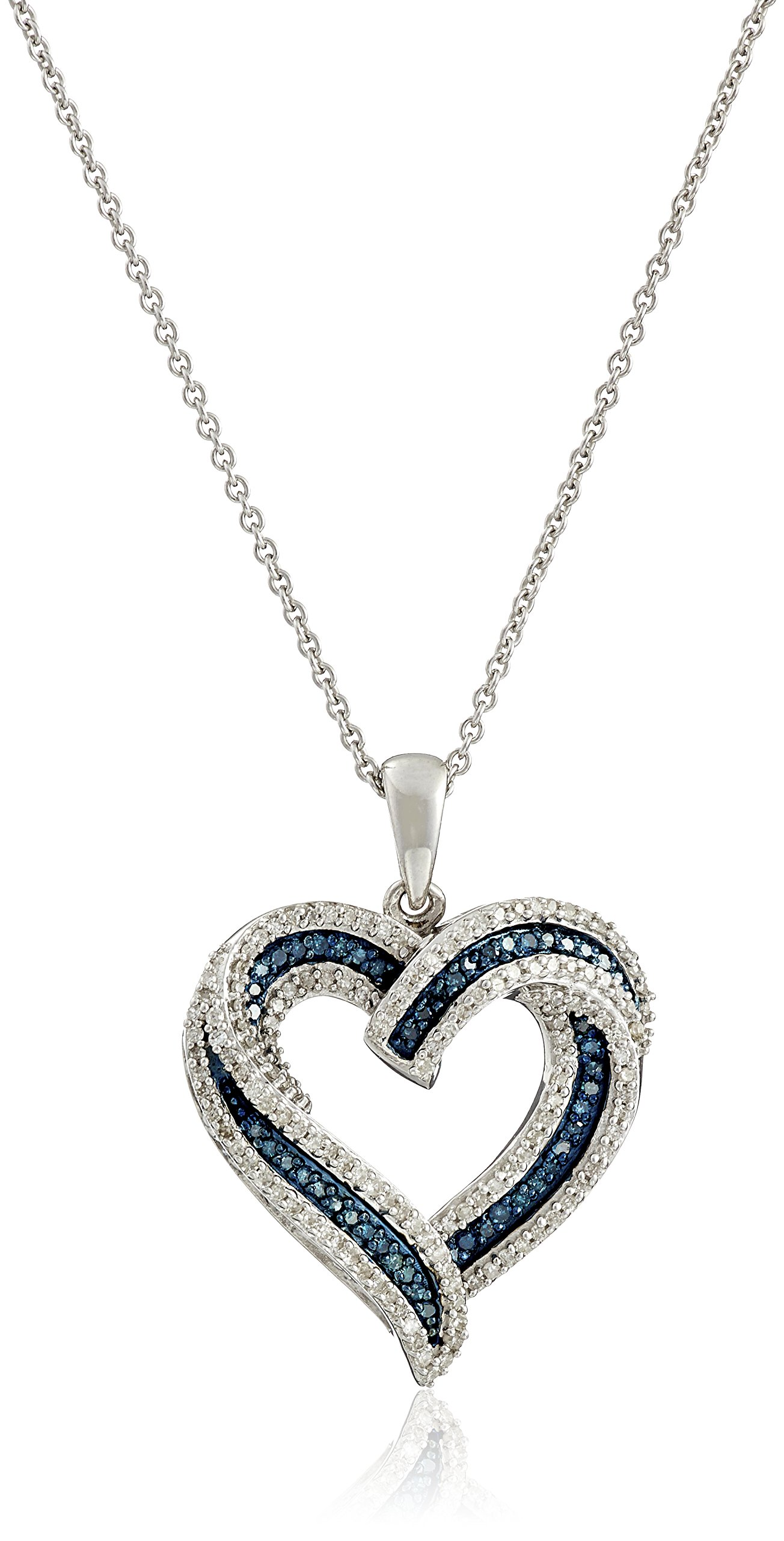 Sterling Silver Blue and White Diamond Heart Pendant Necklace (1/2 cttw), 18''