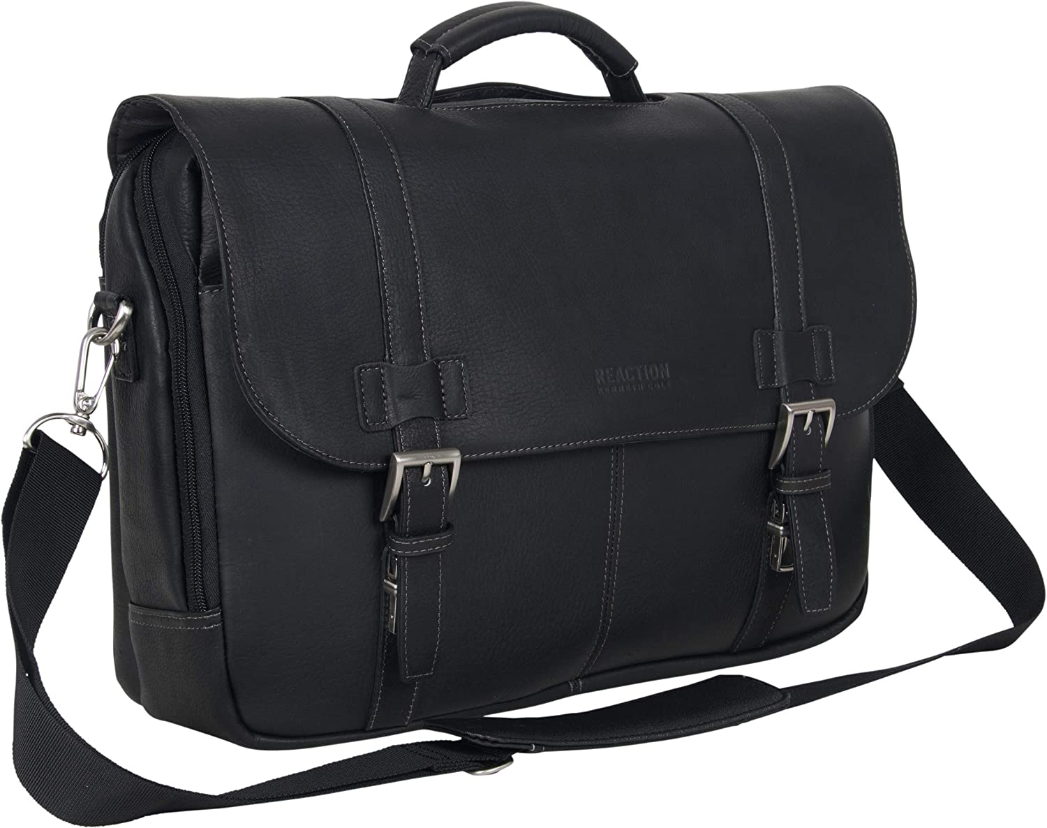 Kenneth Cole Reaction Show Full-Grain Colombian Leather Dual Compartment Flapover 15.6-inch Laptop Business Portfolio, Black, One Size