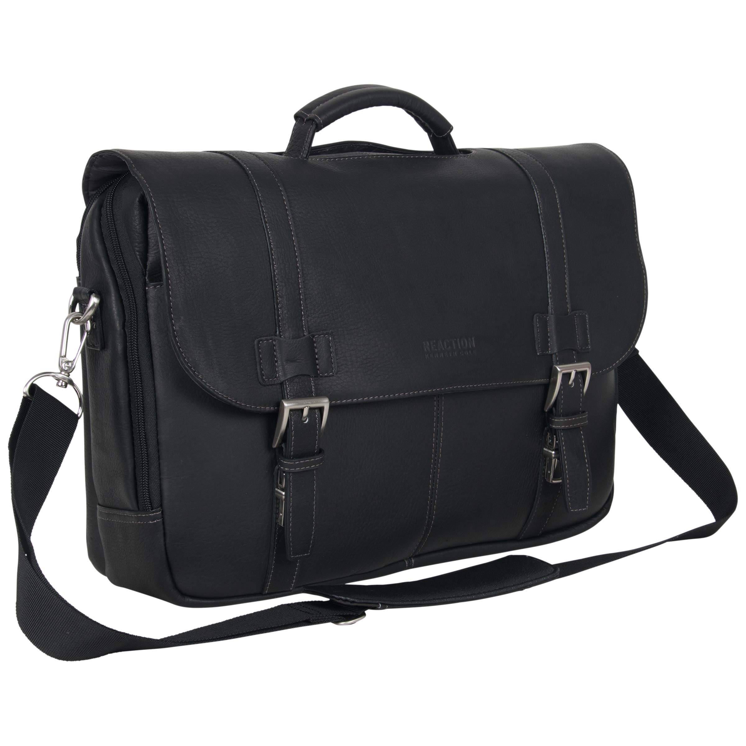 Kenneth Cole Reaction Show Full-Grain Colombian Leather Dual Compartment Flapover 15.6-inch Laptop Business Portfolio, Black by Kenneth Cole REACTION