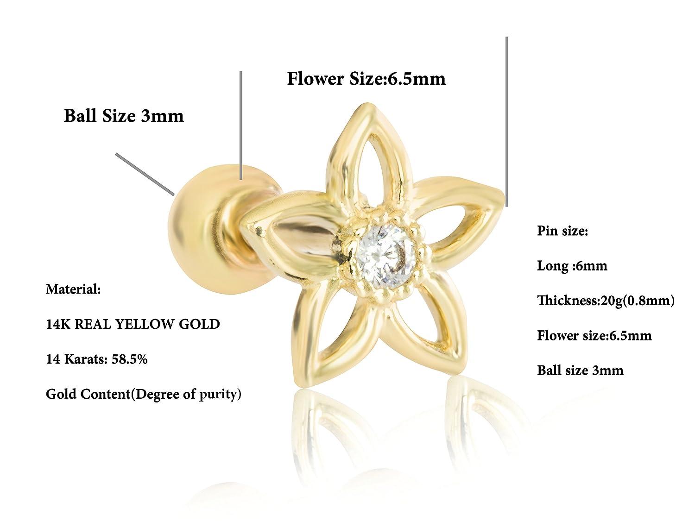 ONDAISY 1 Pcs 20G 14K Real Gold Cz Cute Unique Lucky Sensitive Daisy Jasmin Flower Ear Studs Barbell Piercing Earring 14K00002