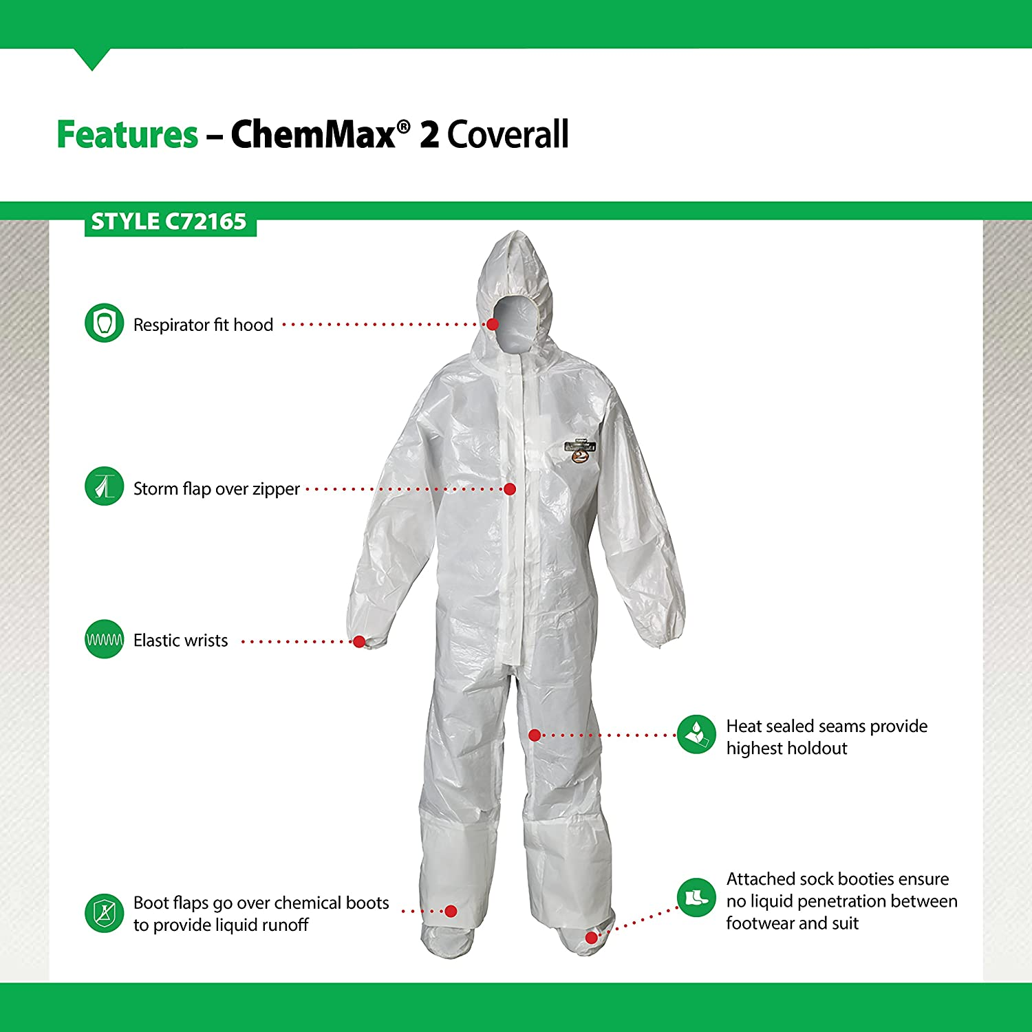 Disposable Lakeland Industries Inc C2T165-LG Elastic Cuff Double Storm Flap White Large Lakeland ChemMax 2 Taped Seam Coverall with Respirator-Fit Hood and Boots Case of 6