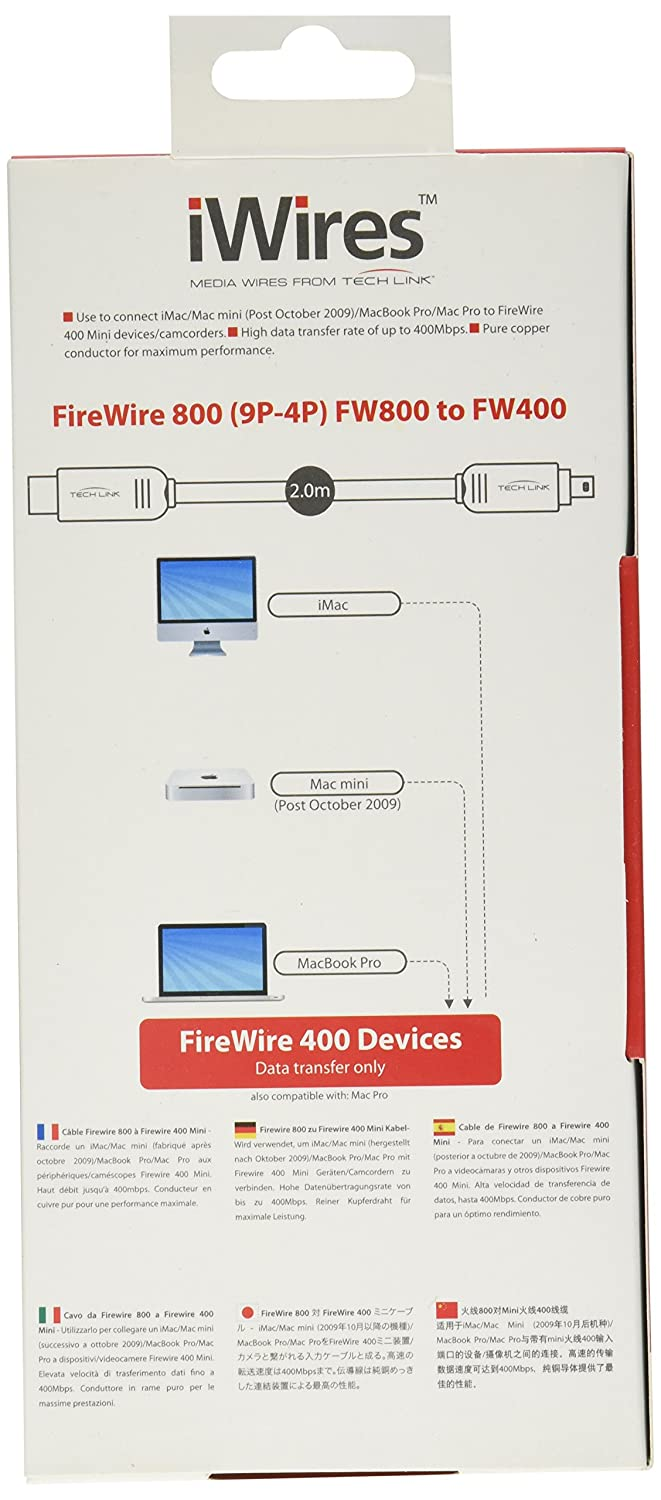 iWires Techlink FireWire 800 to FireWire 400 Mini Cable: Amazon.co ...
