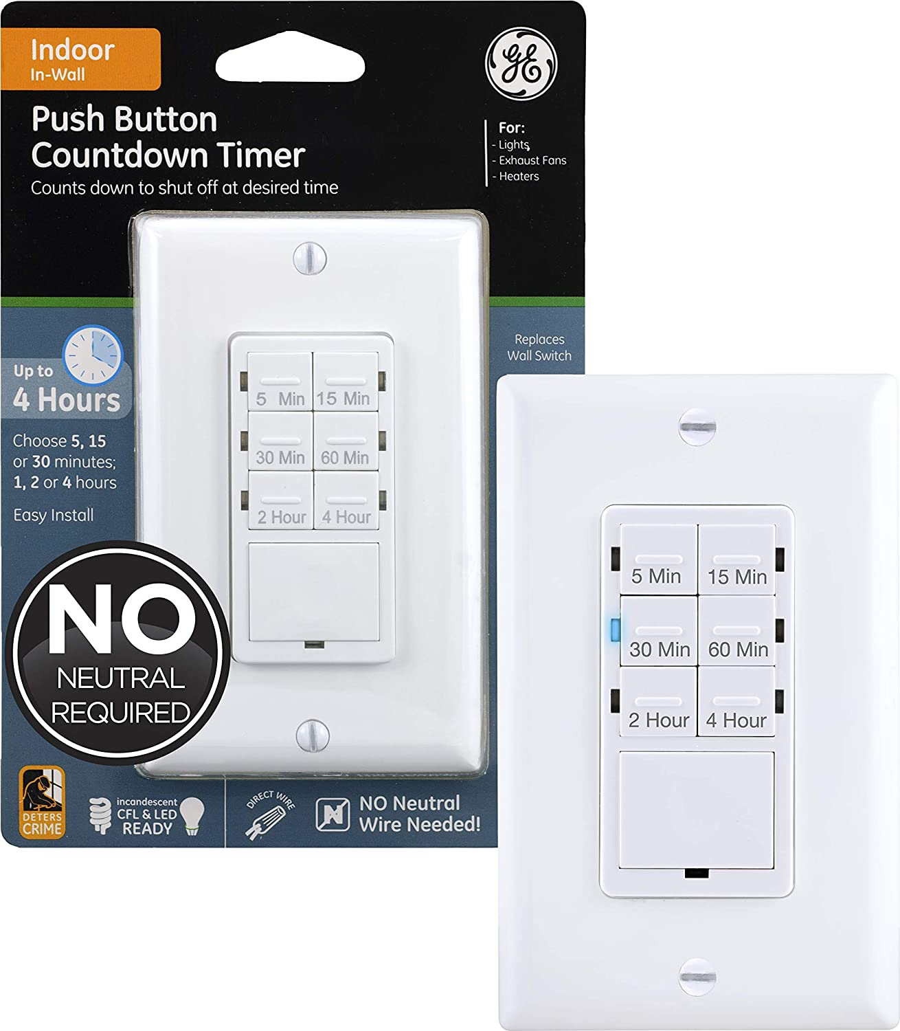 Ge Push Button Countdown Timer Switch 5 15 30 Minute 1 2 4 Hour On Off No Neutral Wire Needed Ideal For Lights Exhaust Fans Heaters Wall Plate Included 15318 White Timer Wall Switch Amazon Com