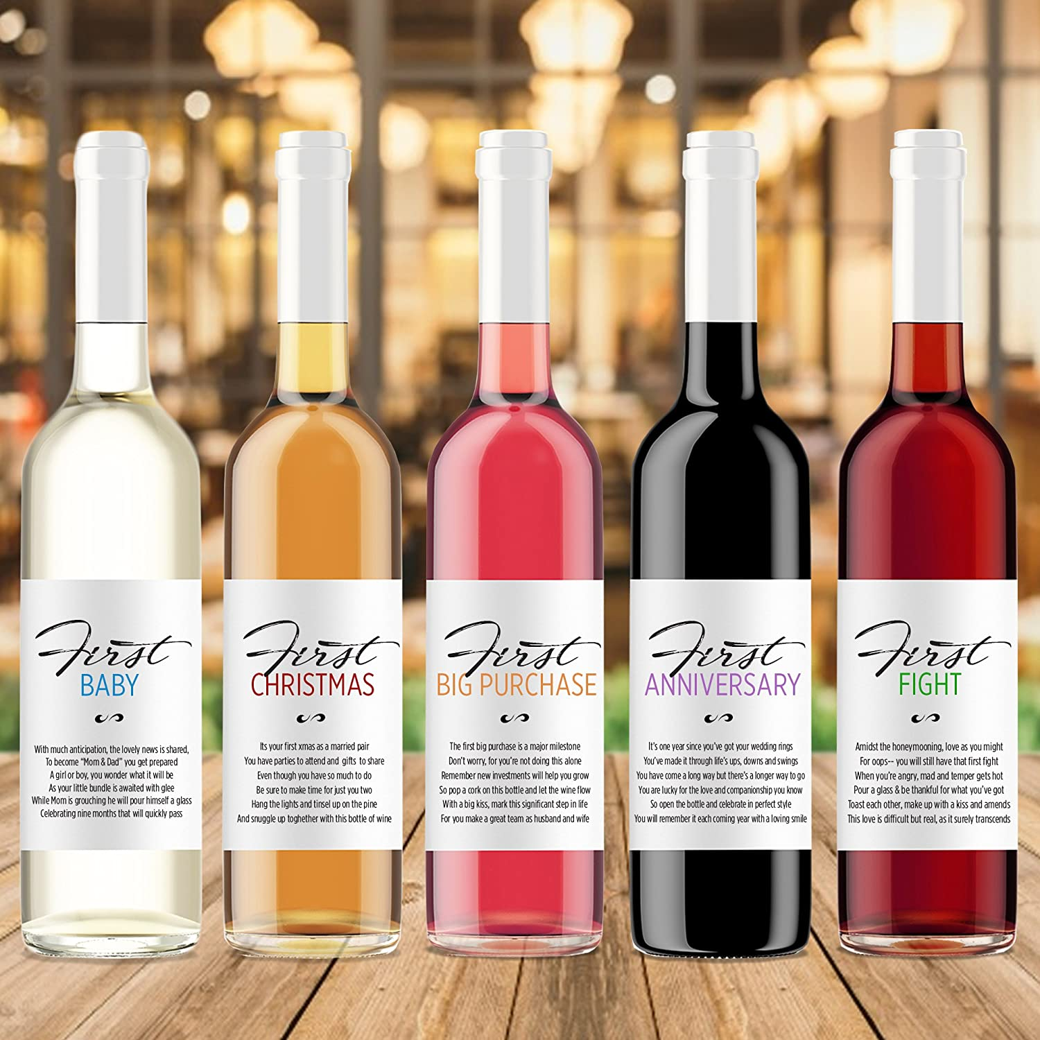 Amazon First Wine Bottle Labels For Wedding Gift
