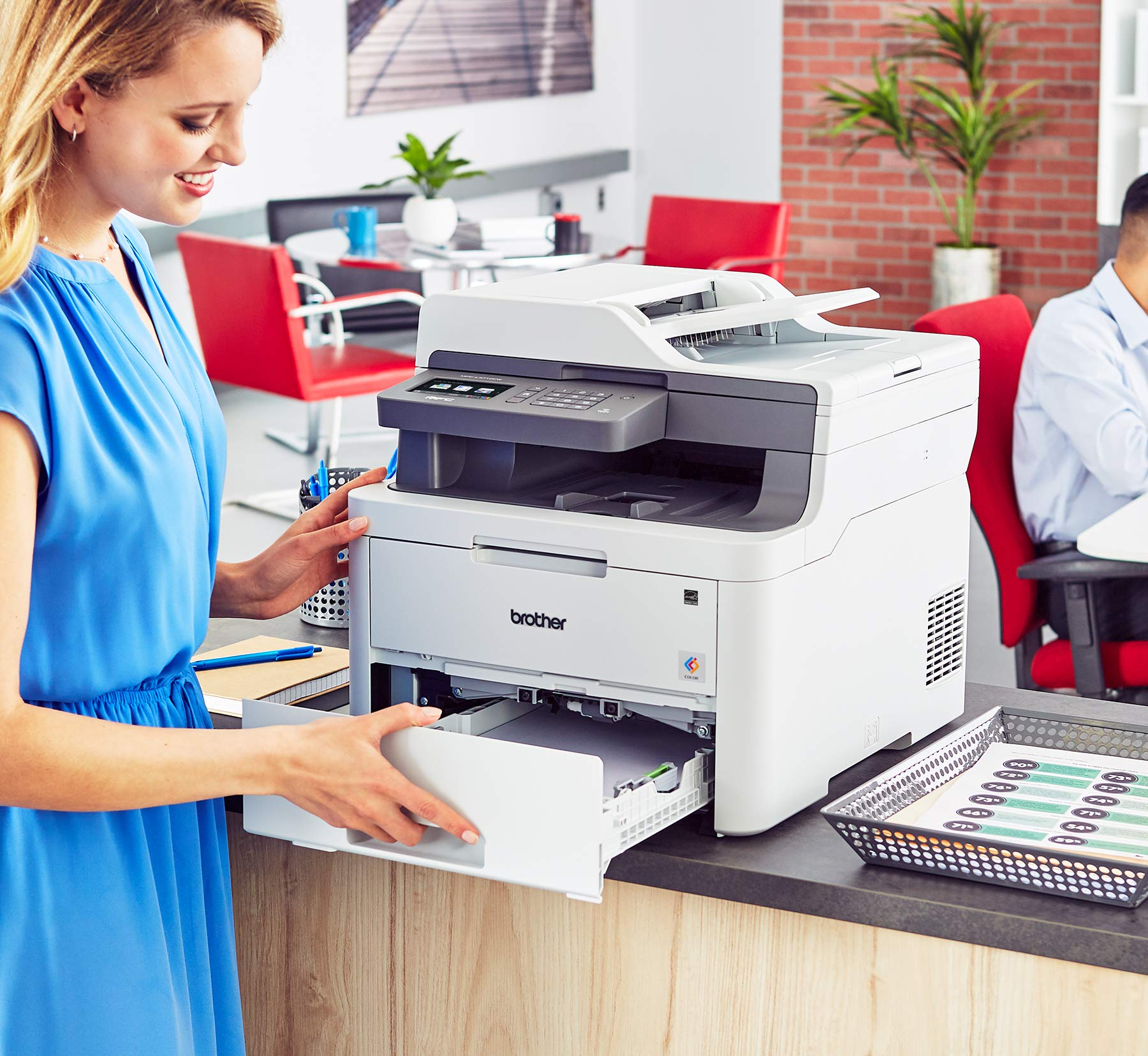 Brother MFC-L3710CW Compact Digital Color All-in-One Printer Providing Laser Printer Quality Results with Wireless, Amazon Dash Replenishment Enabled by Brother (Image #7)