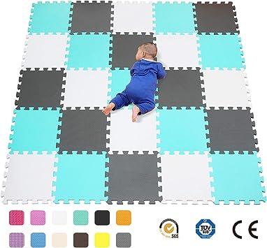 qqpp Alfombra Puzzle para Niños Bebe Infantil - Suelo de Goma EVA Suave. 25 Piezas (30*30*1cm), Blanco,Verde,Gris. QQC-AHLb25N: Amazon.es: Juguetes y juegos