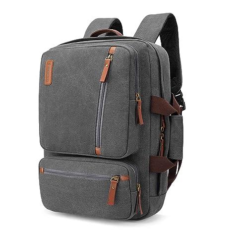 9ca37f087a15 SOCKO Convertible Laptop Backpack Canvas Messenger Bag Shoulder Briefcase  Multifunctional Travel Rucksack Hiking Knapsack College Notebook