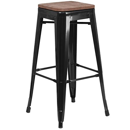 Taylor Logan 30 High Backless Black Metal Barstool with Square Wood Seat