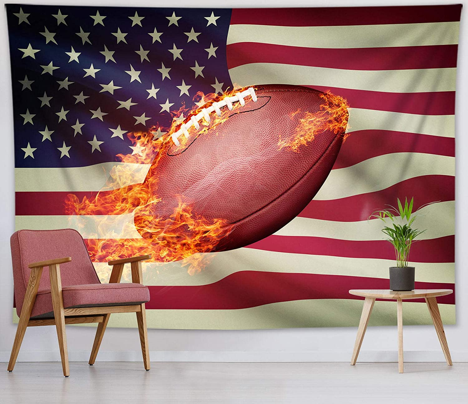 HVEST American Flag Football Tapestry Wall Hanging Sports Wall Tapestry Flaming Football Tapestry American Flag Backdrop for Men Boys Bedroom Room Decor,60Wx40H inches