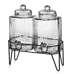"Style Setter Hamburg 210266-GB 1.5 Gallon Each Glass Beverage Drink Dispensers with Metal Stand (Set of 2) 8.2 x 16.8"" Clear"