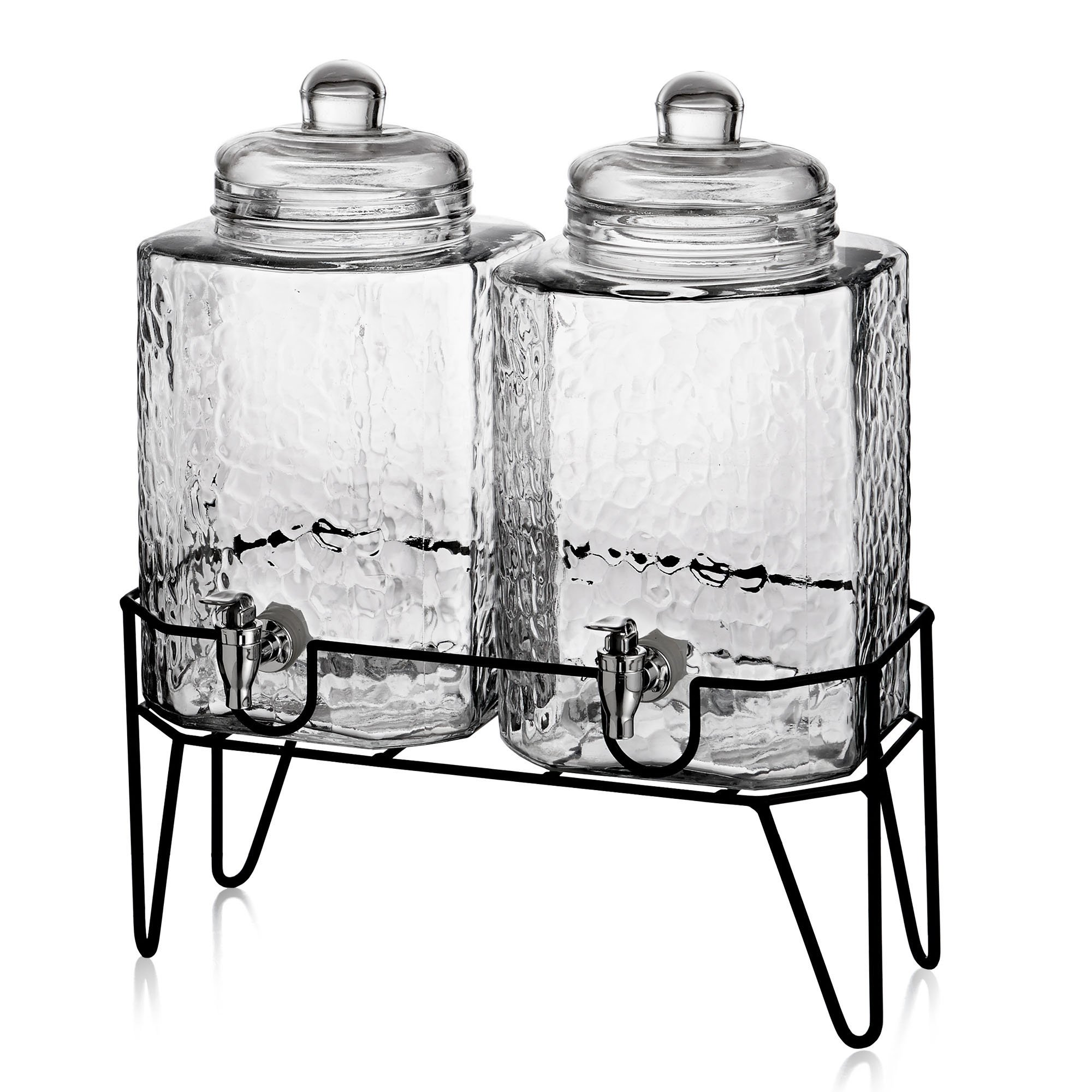 Style Setter Hamburg 210266-GB 1.5 Gallon Each Glass Beverage Drink Dispensers with Metal Stand (Set of 2), 8.2 x 16.8'' Clear by Style Setter (Image #1)