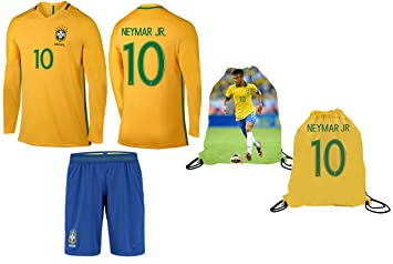 best sneakers 47fca 6c2d8 Neymar Jersey Brazil Home Long Sleeve Kids Soccer Jersey Neymar Jr Gift Set  Youth Sizes ✓ Soccer Backpack Gift Packaging