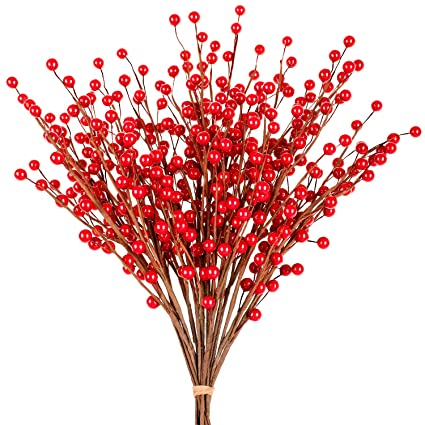 Whaline Red Berry Twig Stem, 12 Pack Artificial Burgundy Berry Picks for  Christmas Tree Decorations, Crafts, Wedding, Holiday Home Decor