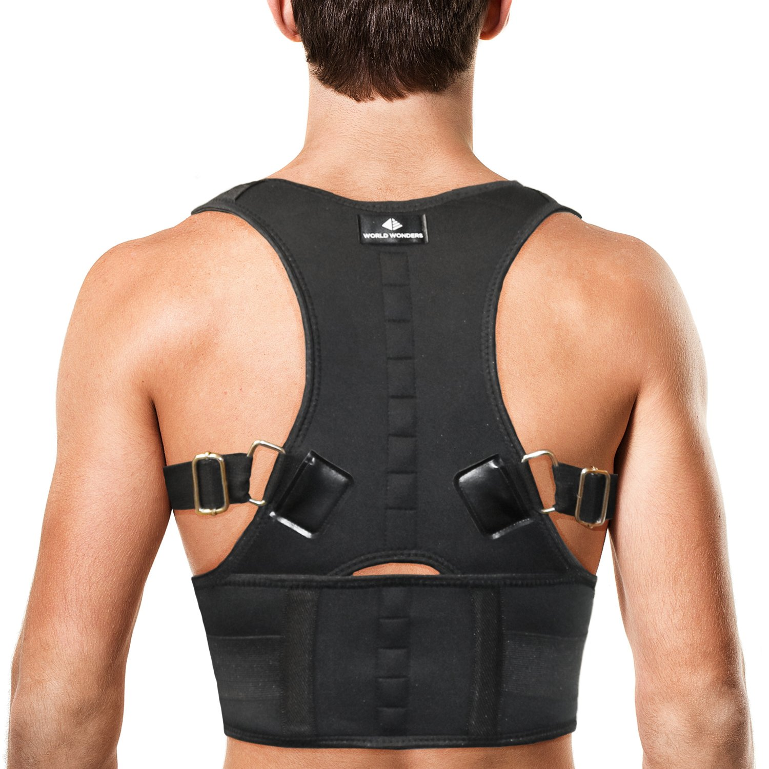 World Wonders Adjustable Magnetic Back Posture Corrector for Women & Men | Back Brace Protects Lumbar Spine w/Effective, Comfortable Design | Pain Relief for Upper and Lower Back | Waist - S(26''-32'')