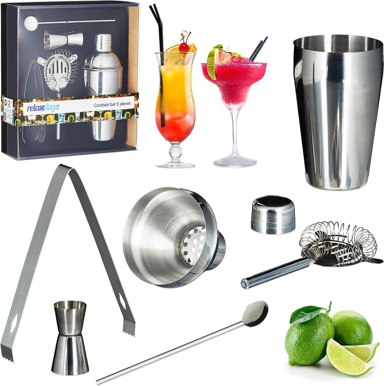 Plateada Set de coctelera con accesorios Acero inoxidable Relaxdays kit c/óctel 5 piezas Para batidos y c/ócteles