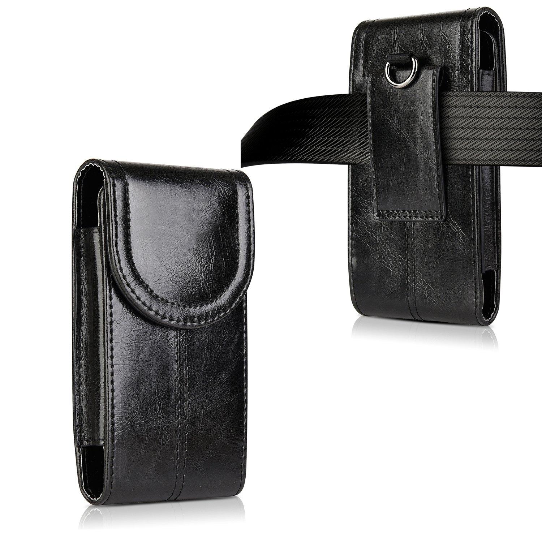 iPhone 8 Plus 7 Plus 6S Plus Belt Holster,kiwitatá Vertical Premium Leather Belt Pouch Carrying Case [Belt Loop] Crazy Horse for Galaxy S7 S6 LG G5 Black
