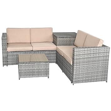 Jalano Poly Rattan Lounge Set Gartenmobel Gartengarnitur 4 Teilig Grau
