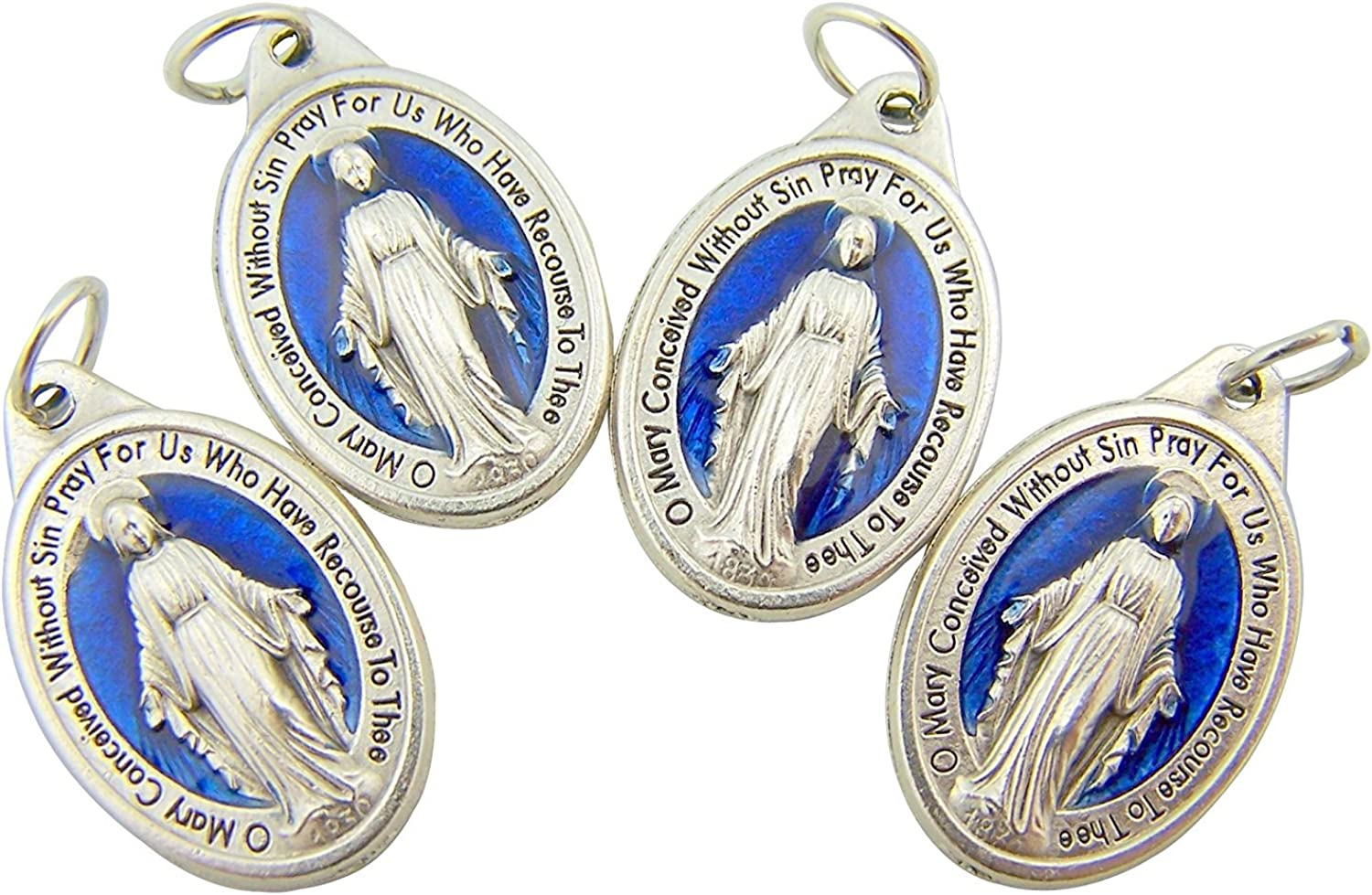 Religious Gifts Men's or Women's Catholic Silver Tone and Royal Blue Miraculous Medal Mary Devotional Charm Pendant, Set of 4