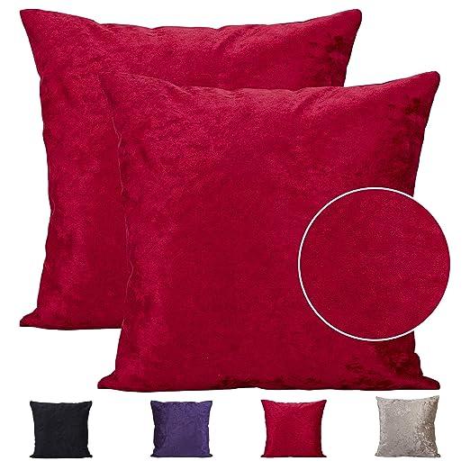 Comoco - Funda de cojín para sofá (2 Unidades, Terciopelo Grueso, 7 tamaños), Hot Pink, 40 x 40 cm