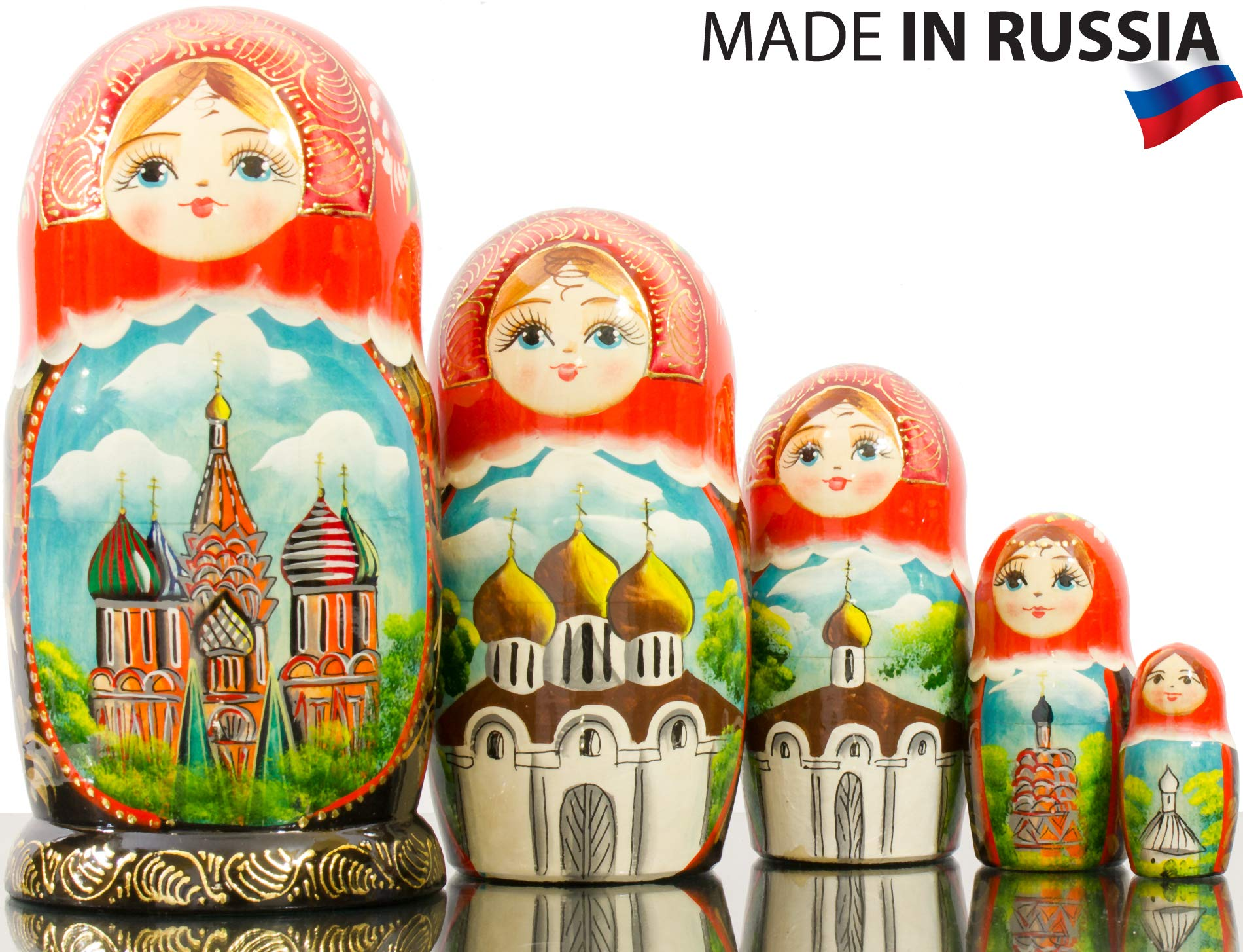 Russian Nesting Doll - Hand Painted in Russia - Moscow Memories- Traditional Matryoshka Babushka (Style B)