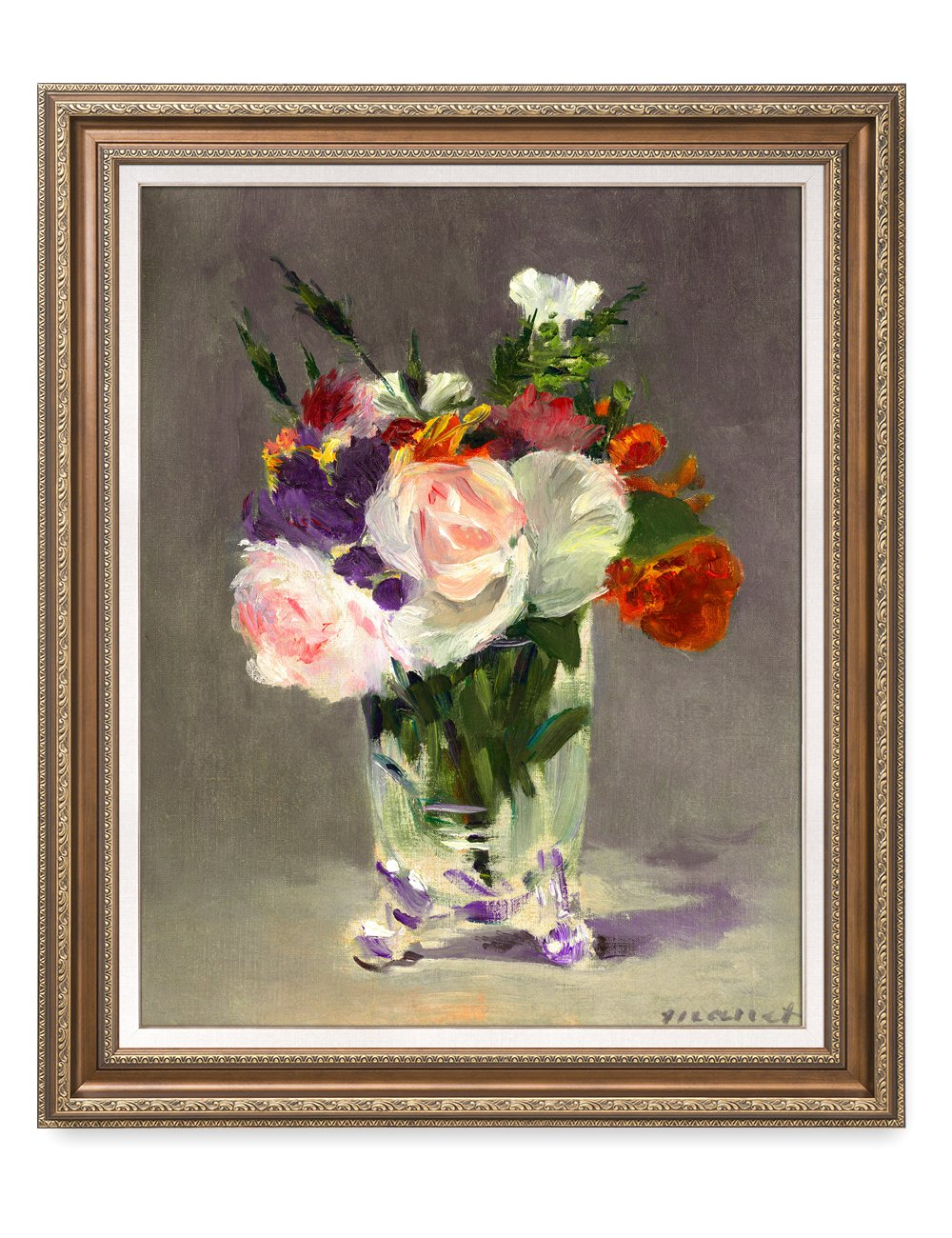 DecorArts- Flowers in a Crystal Vase, Edouard Manet Art Reproduction. Giclee Print& Museum Quality Framed Art. 24x30'', Outside Size: 30x36''