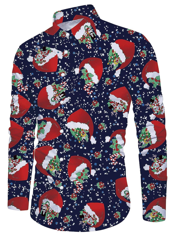 Funnycokid Mens Shirt Printed Short Sleeve Button Down Holiday Style Hawaiian Shirts