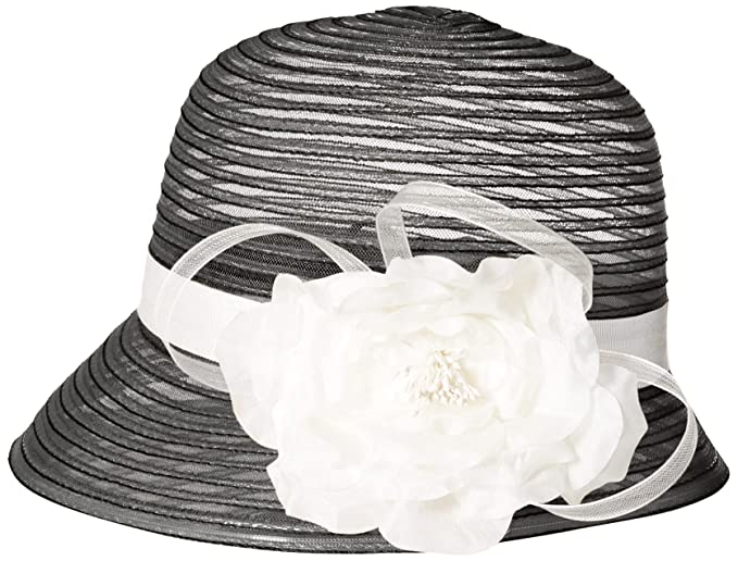 cbb26ee7 SCALA Women's Cloche Hat with Flower, Black, One Size at Amazon ...