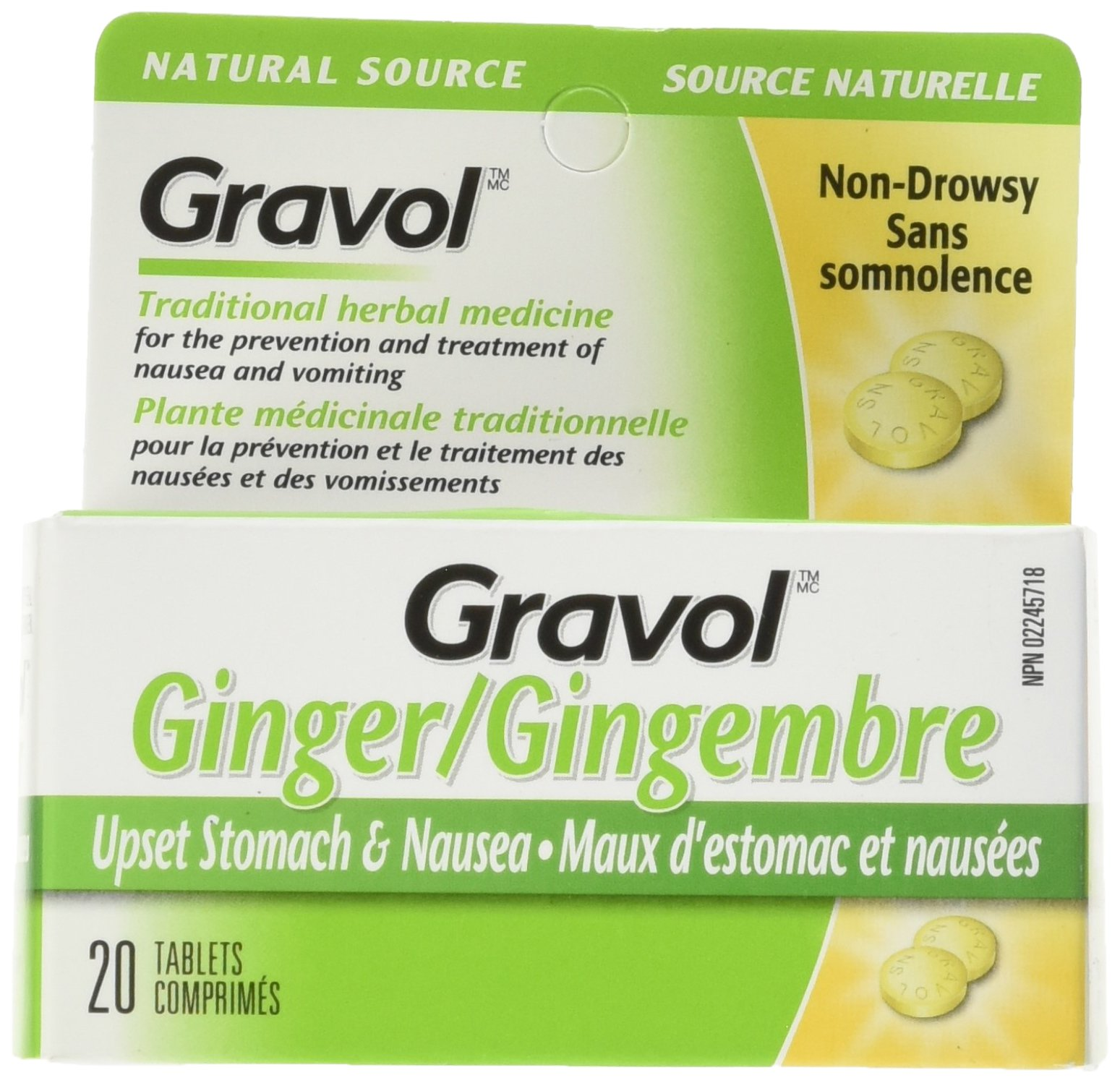Certified Organic Ginger GRAVOL NATURAL SOURCE (20 Tablets) Antinauseant for NAUSEA, VOMITING & MOTION SICKNESS Ages 6 And Up