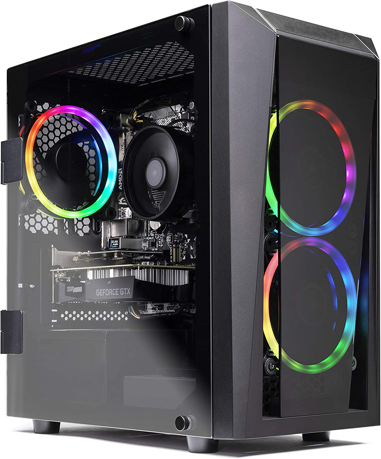 Skytech Blaze II Gaming Computer PC Desktop – RYZEN 7 2700X 8-core 3.7 GHz, RTX 2060 Super 8G, 500GB SSD, 16GB DDR4 3000MHz, RGB Fans, Windows 10 Home