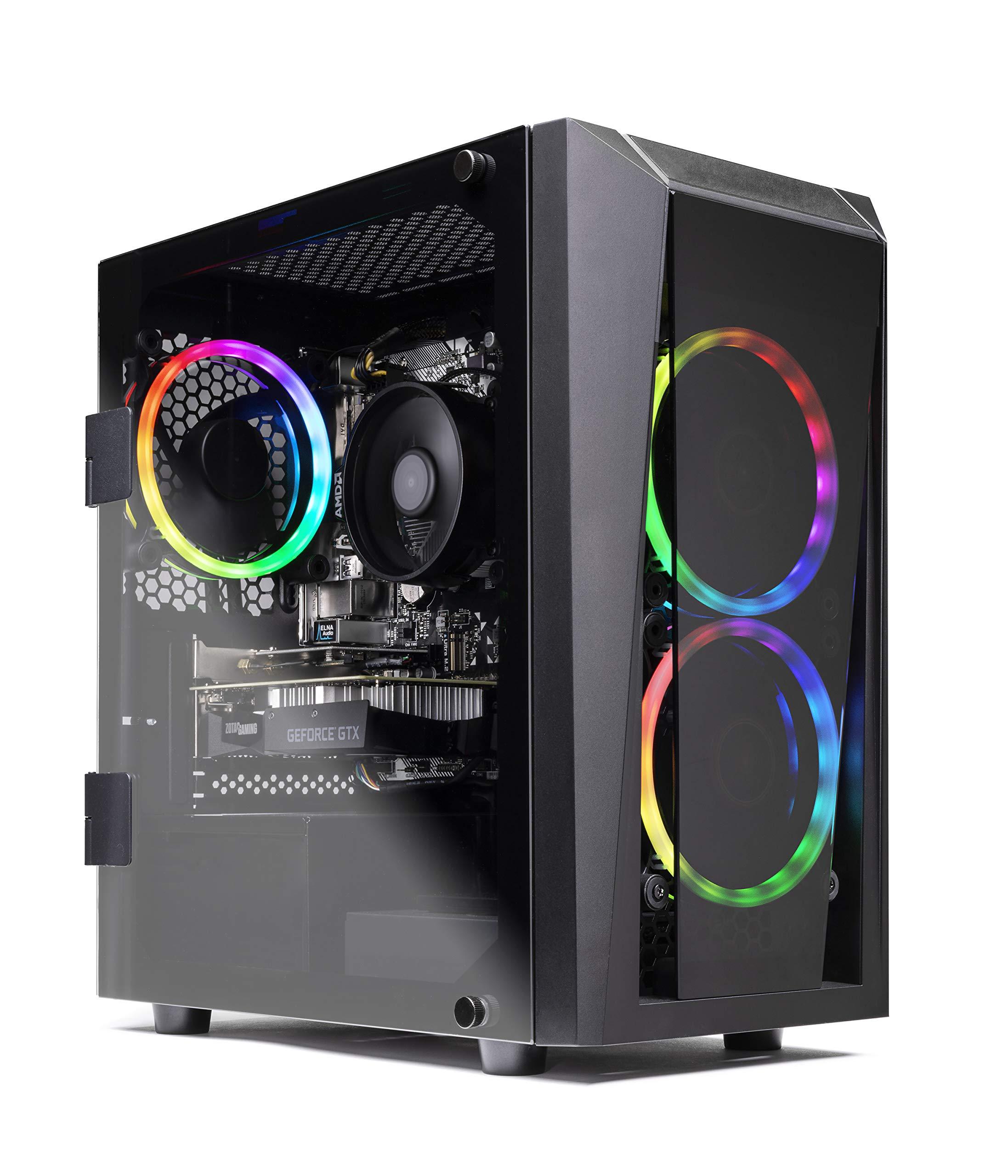 SkyTech Blaze II Gaming Computer PC Desktop - Ryzen 5 2600 6-Core 3.4 GHz, NVIDIA GeForce GTX 1660 TI 6G, 500G SSD, 8GB DDR4, RGB, AC WiFi, Windows 10 Home 64-bit by Skytech Gaming