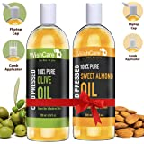 WishCare 100% Pure Cold Pressed Olive Carrier Oil & Sweet Almond Oil - 200Ml Each
