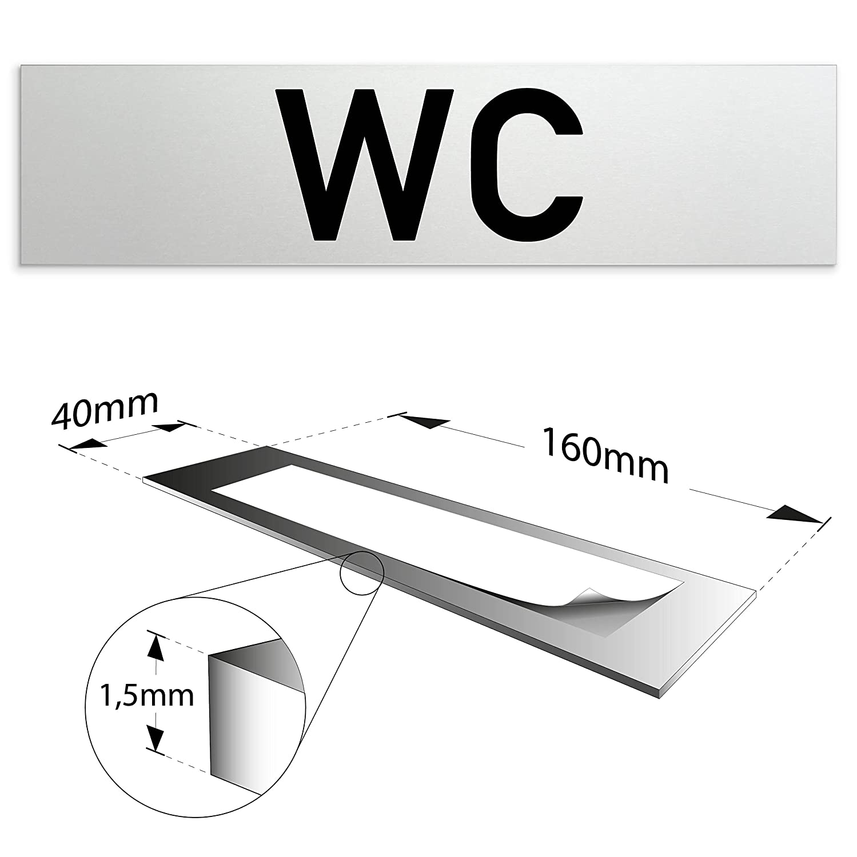 selbstklebend Damen | Oberfl/äche in geschliffener Edelstahloptik eloxiertes Vollmaterial T/ürschild 160 x 40 x 1,5 mm aus Aluminium