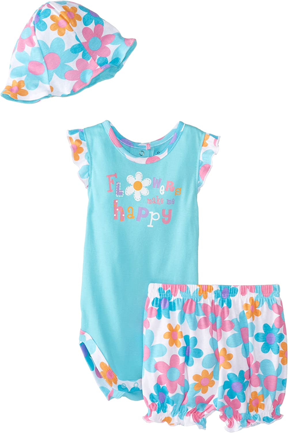 Gerber Baby Girls 3 Piece Bodysuit Bloomers and Hat Set