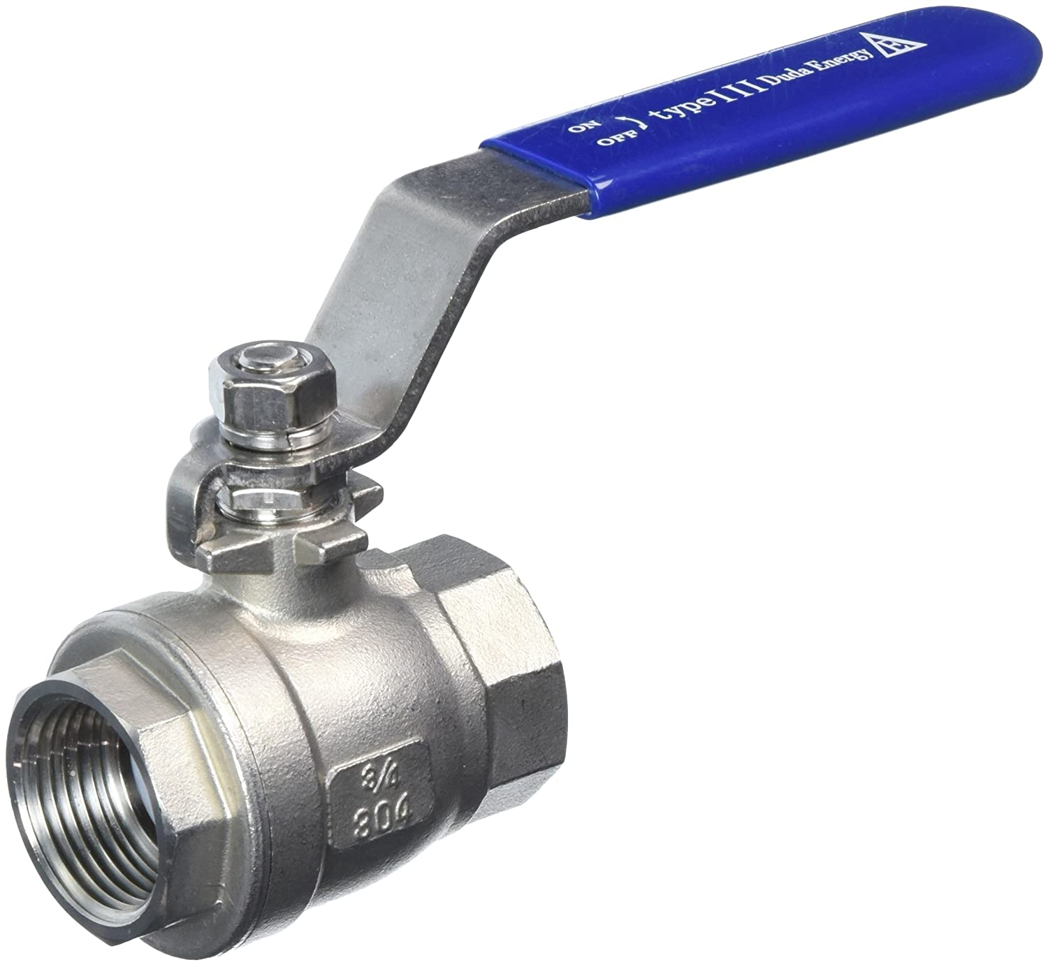 "Duda Energy 2PCBV-WOG200-F075 Full Port Ball Valve, 2 Piece, 3/4"" NPT, 304 Stainless Steel with Blue Vinyl Handle.75"""
