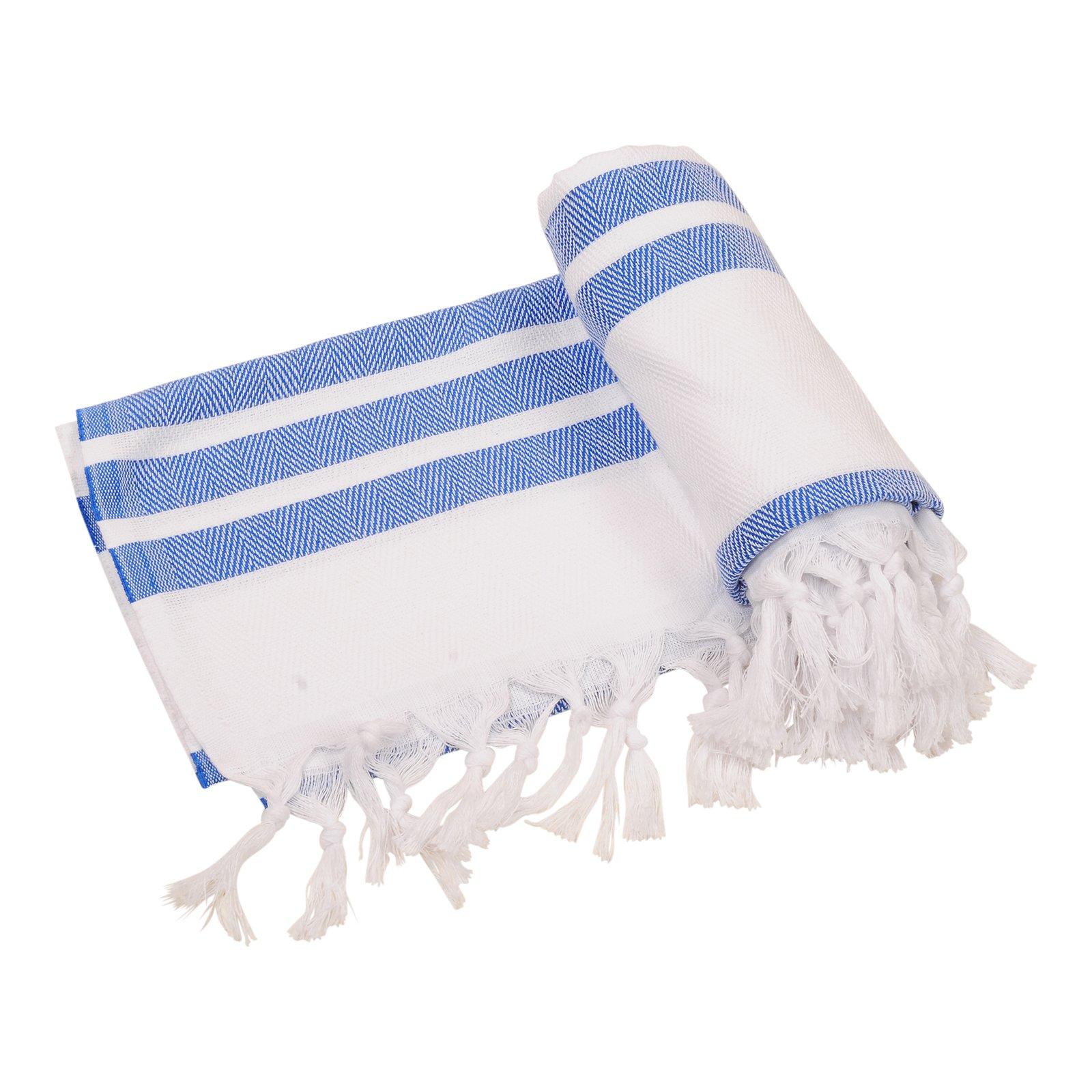 Herringbone Turkish Towel Beach Towel Bath Towel Peshtemal Fouta Spa Sauna Travel Pool Gym Yoga Picnic Camping Throw, 100% Cotton 39''x70'' (Royal Blue)