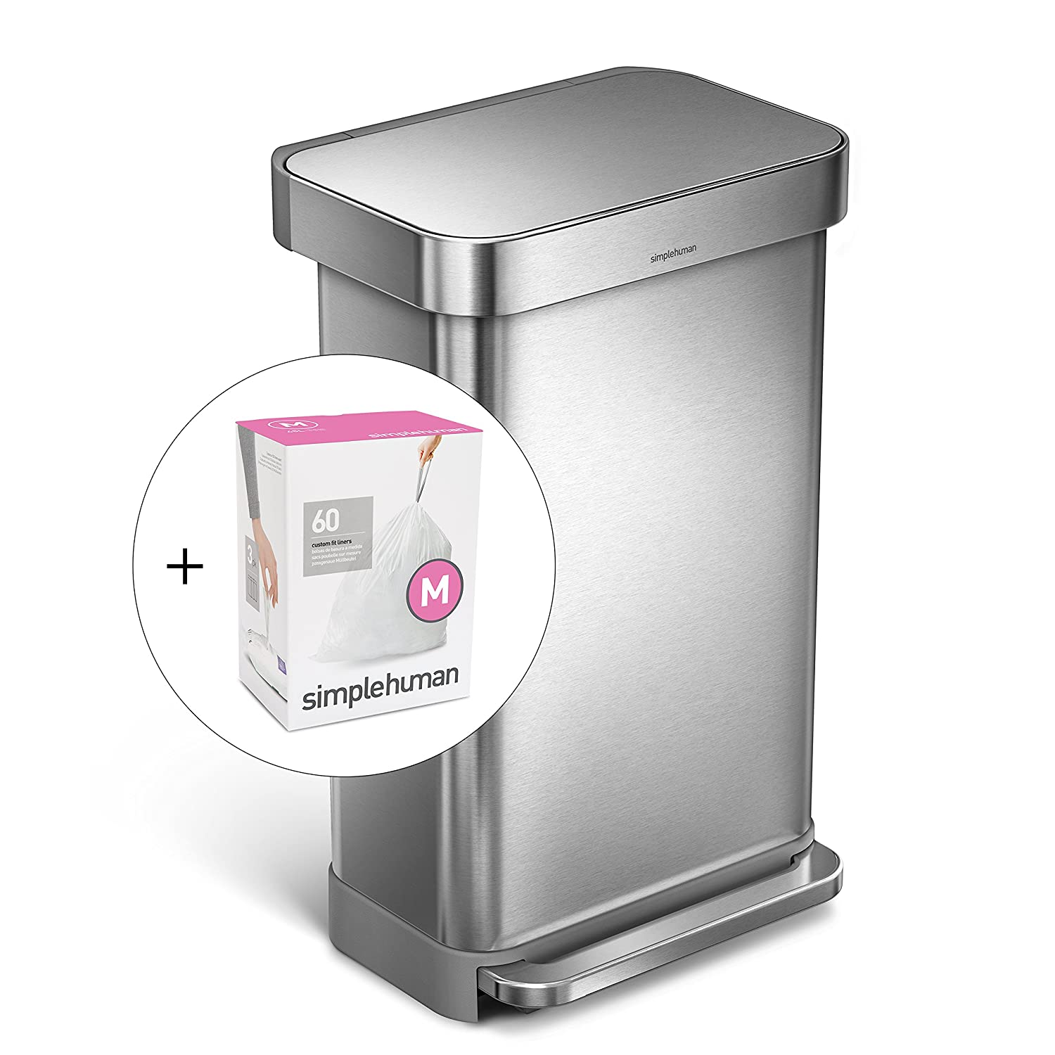 simplehuman 45L Rectangular Step Trash Can with Liner Pocket, Nano-Silver Clear Coat Brushed Stainless Steel, with 60 pack custom fit liner code M CW2024 + CW0261