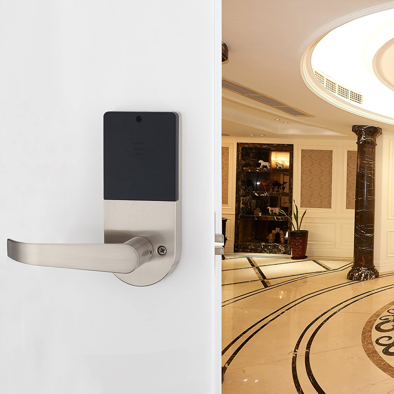 HAIFUAN D6300 Bluetooth Digital Door Lock Compatible with Alexa via Gateway Satin Nickel,Open by Card,Code,Key/& APP HFAD6300B-R