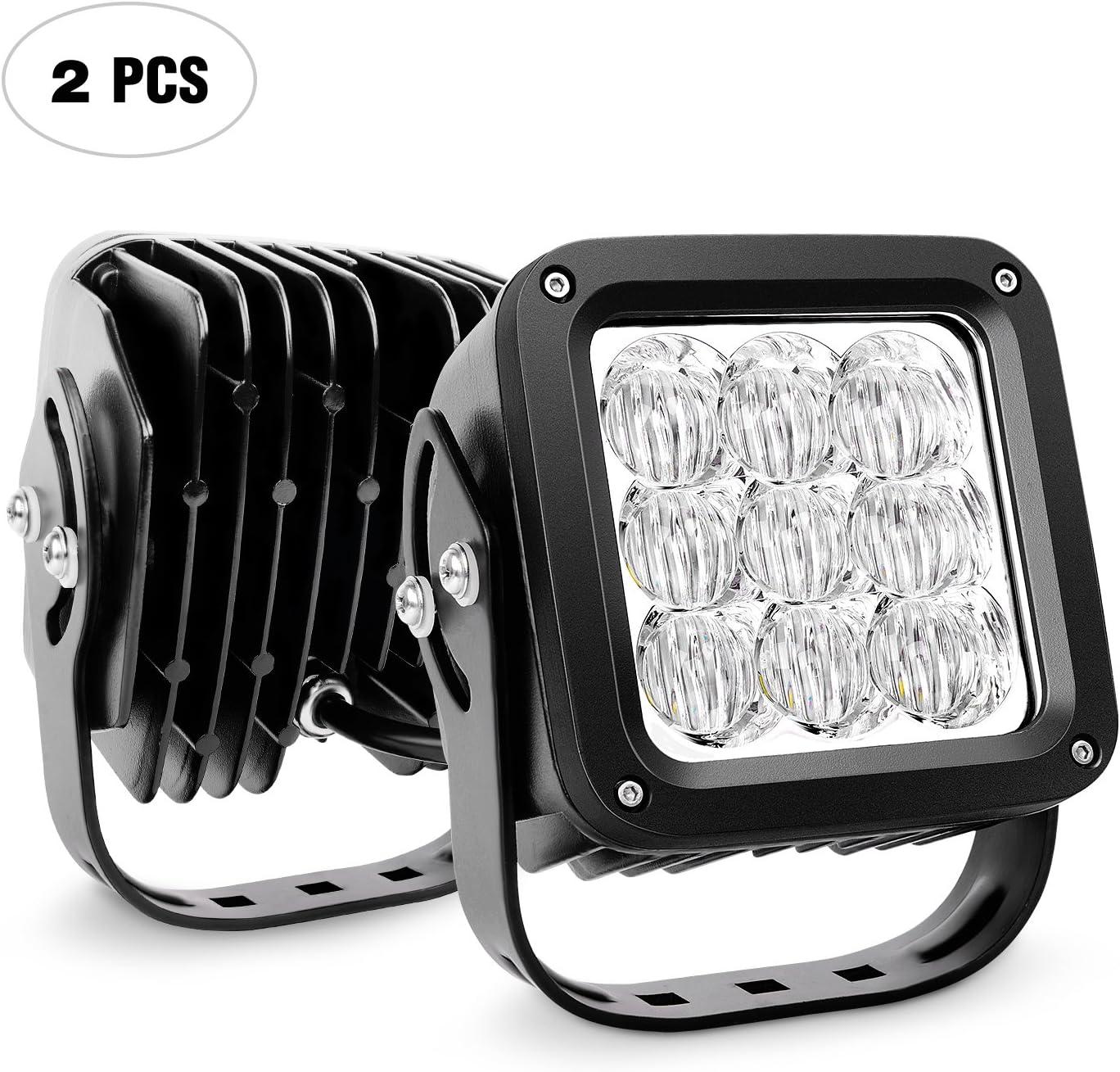 Pickup Off-Road Luz antiniebla para Tractores,Camiones Todo Terreno ATV Barco Nilight Focos LED,2pcs 18W 1260Lm Spot /& Flood Combo Bar LED Faros de Trabajo LED 12V-24V SUV