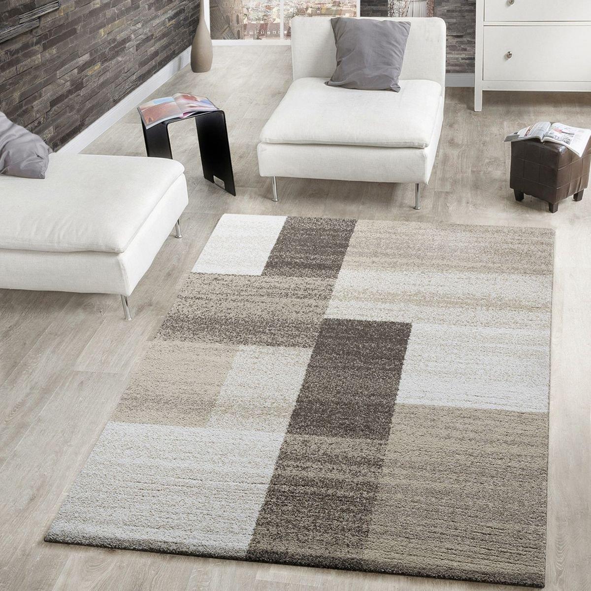 T&T Design Moderner Webteppich Kurzflor Wohnzimmer Rechtecke Meliert In Beige Creme Braun, Größe 240x330 cm