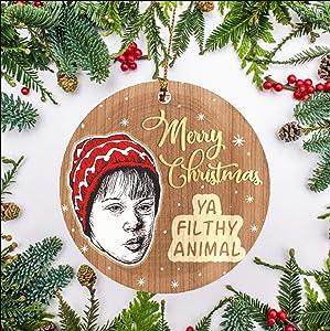Home Alone Merry Christmas Ya Filthy Animal Christmas Ornament Ceramic Xmas Ornament Novelty Christmas Tree Decoration Funny Christmas Movies Holiday Ornament