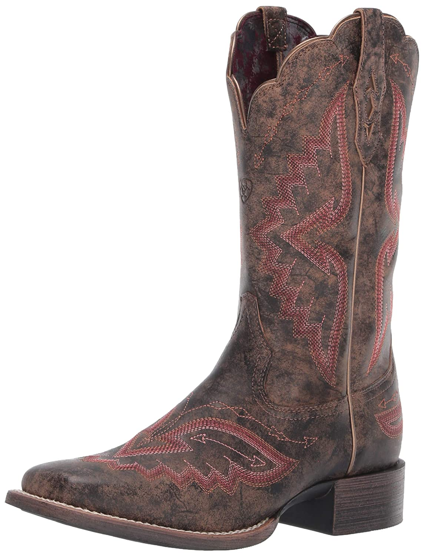 Distressed Truffle Ariat Women's Round Up Santa Fe Western Boot