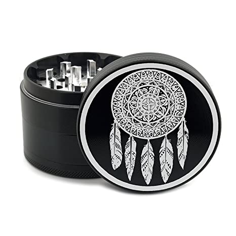 "Dreamcatcher Herb Grinder Black 4 Piece Premium Grade Grinders for Herbs and Spices 2.5"" 63mm"
