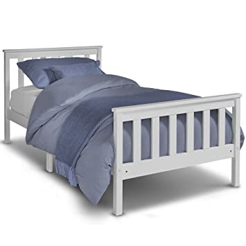 VonHaus Single Pine Bed - 3ft White Wooden Bed Frame with Slatted ...