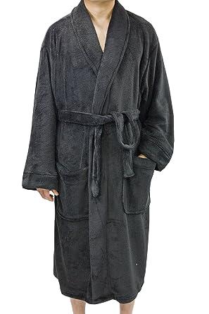 Leisureland Men s Plush Coral Fleece Bathrobe Robes Black 50 at ... f15b50123