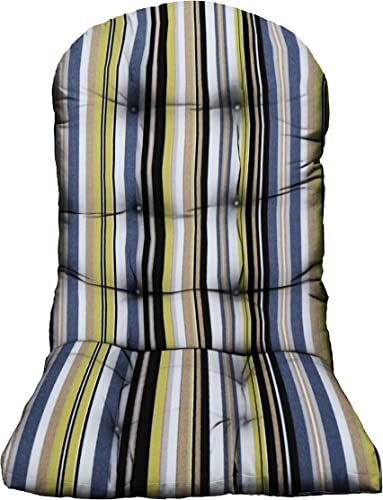 RSH D cor Indoor Outdoor Tufted Adirondack Chair Cushion Stain Weather Resistant Seat Pad Great for Porch, Patio, Deck and Home Decor Choose Color Band Lemon Yellow Grey Gray Stripe